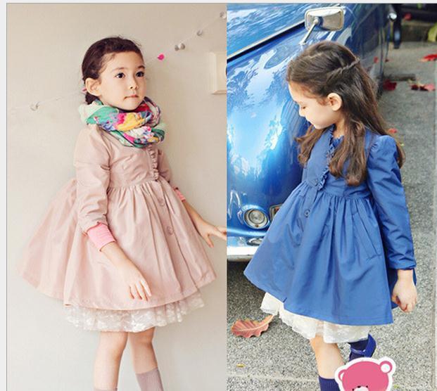 Buy ew Fashion Children winter coat Outwear girls lace princess long-sleeved windbreaker jacket wind Pink blue,