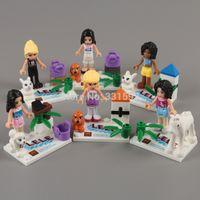 Wholesale 6pcs set Anime Cartoon Frozen Girls Figures Building Blocks Sets Minifigures Toys ANBB161