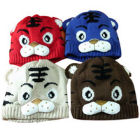 Unisex Winter Hedging hair 2013 New Retail 1pcsPopular Baby Cotton Hat Tiger Cute Cap Cartoon Baby Crochet Beanie Infant Knitted Cap Free Shipping 8 colors