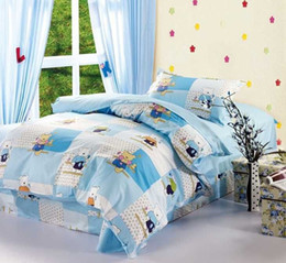 Wholesale Davebella Korean Children Cartoon Pieces Bedding Sets Cotton Printed Sets Bears and Cars Printed Suitable for Single Bed H00042