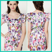 Casual Dresses Knee-Length Puff Sleeve purple rose stretch fabric 2014 summer satin ruffle tight-fitting big flower printing one-piece dress S M L XL