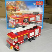 Building Plastic Blocks Cogo Fire Fighter Series Fire Truck NO.3611 Building Block Sets 266pcs Enlighten Educational DIY Construction Bricks toys