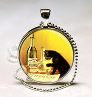 Pendant Necklaces ad circle - Cat Necklace Vintage Liquor Ad Absinthe Kitty Art Pendant