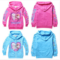 Coat Girl Spring / Autumn free shipping 2014 new kids cartoon Frozen outerwear girls spring autumn Hooded zipper jackets children's lovely leisure coat