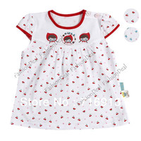 TuTu Summer A-Line Sweet Cut Baby Girl Short Sleeve Dress Cherry Print Princess Loose Baby casual Dress Clothes 3 Sizes 2 Colors 14364