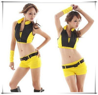 Wholesale sexy Yellow car model evening ds costumes Lead dancer Uniforms cheerleading costumes pole dancing costumes SX371
