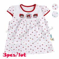 TuTu Summer A-Line 3pcs lot Sweet Cut Baby Short Sleeve Dress Cherry Print Girl Princess Loose Baby casual Dress Clothes 3 Sizes 2 Colors 14364