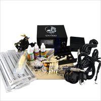 Round Tips Tattoo Kits new free shipping Professional Complete Tattoo Beginner Kit Machine 1 Gun Supply Set Equipment