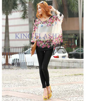 V-Neck Batwing/Dolman Sleeve Long 2014 New Bohemian Style Women Oversized Dolman Sleeve Floral Chiffon Shirt Tops Blouse L XL SV000785 A4