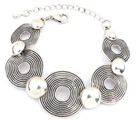 Wholesale link bracelet geometric vintage avon silver tone lightweight Vintage highly detailed tribal chic spirital men women bracelet
