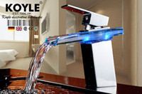 Ceramic Plate Spool Yes KOYLE KOYLE - Waterfall LED No Battery Bathroom Basin Sink Glass Chrome Brass Deck Mounted Mixer Tap Faucet torneira banheiro