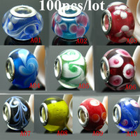 Glass beads for bracelets and necklaces - Hot Sale Mix Color Murano glass Beads charms for Pandora bracelet Big mm Hole for mm snake european bracelet and necklace