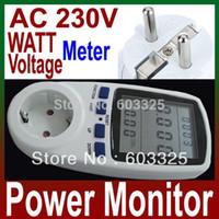 Wholesale 230V A High Quality EU Plug LCD Digital Energy Meter Power Meter Wattmeter Watt Voltage meter amper meter monitor