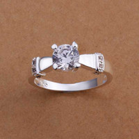 Wholesale Sterling Silver Ring Fashion Zircon Silver Jewelry Ring Women Finger Rings Wedding Gift Top Quality SMTR187