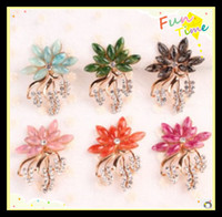 Men's blue green jade - Gold Plated Flower Resin Brooches K Gold Jade Brooches Colors Handmade Rhinestone Pins Women Fashion Jewelry Green Roseo Blue Pink