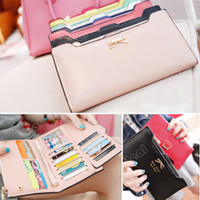 Wholesale New fashion style Korean Version of sweet and cute bow women girl Multi Card Handbag Ms Long Wallet SV001289