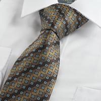 Neck Tie Brown  New Brown Bronze Coin Checked Antique Rare JACQUARD Men's Tie Necktie Gift KT0079