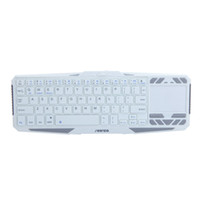 Wholesale Wireless Bluetooth Keyboard With Touchpad Mouse IR Learning Remote Control White DHL free LY