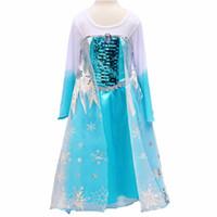 TuTu Summer A-Line DHL FedEx Summer 2014 tutu party princess clothes costume lace vest blue kids girls fantasia elsa frozen dress Cheap Christmas 39336170145