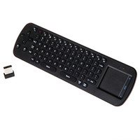 Wholesale Measy RC12 Mini Handheld G Wireless Touchpad Air Mouse Keyboard Remote Control For PC Notebook Android TV BOX Black DHL free LY