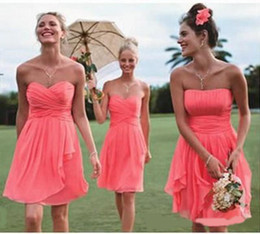 Wholesale 2016 Ruffles Coral Corset Sweetheart Bridesmaid Dresses Strapless Party Formal Gowns Chiffon Ruched Knee Length For Maid of Honor New