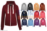 Wholesale fashion WOMENS PLAIN HOODIE LADIES HOODED ZIP ZIPPER TOP SWEAT SHIRT JACKET COAT SWEATER