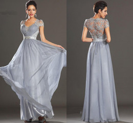 2014 New Arrival! Silver Gray Prom Dresses V-Neck Cap Sleeve Crystals Beads on Waist Lace Ruched Chiffon Elegant Party Gowns Custom Made P44