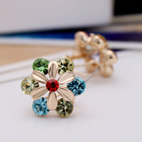 Wholesale new lovers earrings sunflower diamond crystal stud earrings luxury fashion jewelry sexy ear nail lady costume mix color