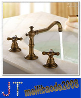 Widespread antique brass bathroom faucet - 3Pcs Faucet Sets Antique Brass Water Tap Double Handle Tap Bathroom Bathtub Basin Sink Mixer Tap Faucets HSA0673
