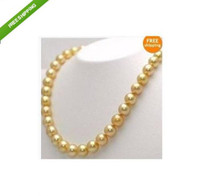 Wholesale 18 Gorgeous AAA mm golden south sea pearl necklace k