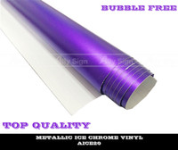 Wholesale Matte Chrome Vinyl Car Sticker High Polymeric PVC Material Purple Color with Free Air Bubble