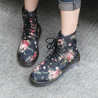 Wholesale Ankle Boots Floral Vintage Cowboy Boots with Flat boots Martin Spring New Shoes Women boots