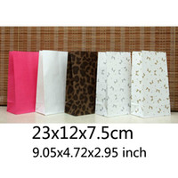 Paper Hand Length Handle Kraft Paper Free Shipping Size 23*12*7.5cm Gift Paper Bags Recyclable Without Handle Kraft Color itself Shopping Bags Wholesale BB-160