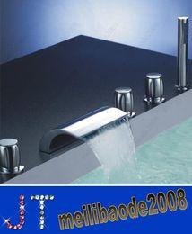 Grifo de bañera cascada bañera baño mezcladores de tina con ducha de mano 5 piezas conjunto HSA0675