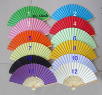 Wholesale Wedding Japanese Style Paper Fans Hand Fans Advertising and Promotional Fans Handmade Multi Colors Bamboo with Paper Fans Bridal Accessories