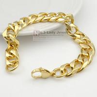 20. 5cm 12mm 18K Gold- plated Bracelet Curb Cuban Link Chain S...