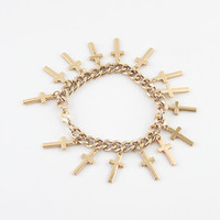 Wholesale Hot sale fashion design Gold Color Alloy Cross Bracelets