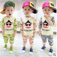 Wholesale Infants Baby Boys Girls Summer Set Cotton Long Sleeve Monkey Stripe T Shirt Pants Green Red Orange Blue Girl Children s Clothing K0985