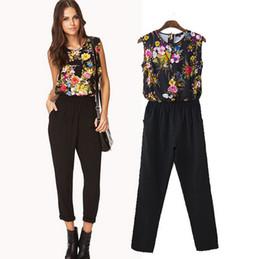 Wholesale Rompers womens jumpsuit new brand European style prints black pants Fashion Round neck casual chiffon women jumpsuits