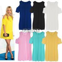 Casual Dresses Above Knee/ Mini Straight New Arrival 2014 Women Summer Dress Cut Out Shoulder Mini dress Tie Dye Oversized Top T Shirt Dress Baggy Tunic B003 SV002893
