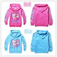 Wholesale Girls Frozen Elsa Anna Cotton Cloth Jacket Girl s hoodies Y Y Girls Kids terry hooded outerwear autumn coats children zipper coat New