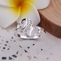 Wholesale Hot Sell Sterling silver ring silver fashion jewelry ring Inlaid Stone Double Heart Rings SMTR275