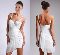 Wholesale 2014 Mini Short Cocktail Dresses Sexy Sweetheart Backless White Color Beads Crystal Pleats Chiffon Formal Sweet Homecoming Party Prom Dress