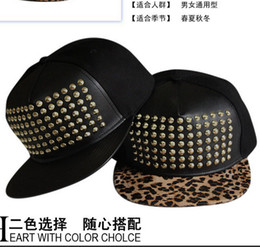 Wholesale Korean bigbang Leather Snapbacks Rivet Snap back Hats Caps Metal Logo Snapback Hip Hop Cap hat Size Adjustable High Quality