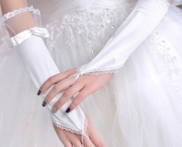 Wholesale Bridal Gloves With Beads And Below Elbow Length Lace Simple Elegant White wedding gloves