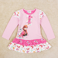 Winter tunic tops - nova fashion girls girls autumn clothes frozen dress anna pink dresses long sleeve tunic top kids clothing H5368D