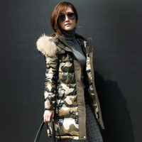 Wholesale Women Coats Winter Fashion Long Duck Down Jacket Women Thickening Camouflage Parkas With Raccoon Fur Hood