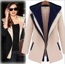 Wholesale Blazer Women Fashion Street Jackets Women Spring Slim Faux Two Piece With A Hood Casaco Patchwork Blazer Casual Female Coat
