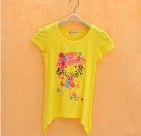 Wholesale New arrival female child short sleeve T shirt medium large female child bamboo fibre t shirt Size4 Years