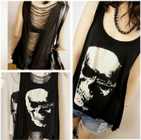 Women Scoop Neck Long Pop Sexy Women's Punk Style Skull Printed Tassel Open Back Singlet Tank Top Long Tee T-Shirt Clothing